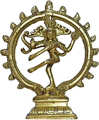 999Store Brass Idols Lord Shiva Dancing Natraj Murti Nataraja Shiv Home Décor Mandir Temple Gift Indian Art( Brass_7.3x6x2.4 Inches_0.760 Kg) Brass052