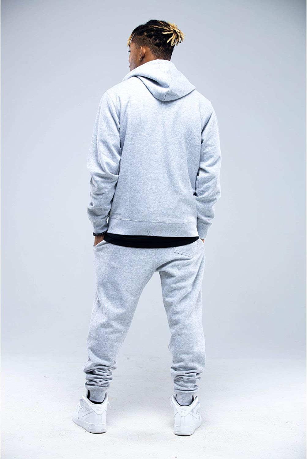 Mens Winter Full Zip Basic Fleece Pullover Tracksuit Jogging Plus Size Hoodie and Joggers Set
