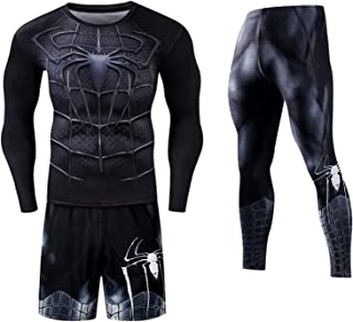 Workout Suit Men's Fall/Winter Running Gym Compression Clothing Quick-Drying Long-Sleeve Tights Three-Piece Sports