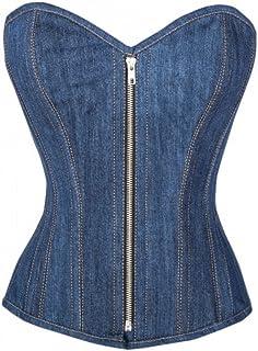 Blue Denim Zipper Goth Steampunk Bustier Waist Training Overbust Corset Costume