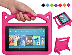 Amazon Kindle Fire 7 Kids Tablet Case,Mr.Spades【Corner Protection】Shockproof Light Weight Handle Kids Friendly Case for Kindle Fire 7 Tablet (9th/7th/5th Generation,2015/ 2017/2019 Release) - Pink