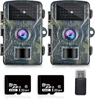 """OMOTOR Trail Game Camera,2 Packs 1080P 2.0"""" LCD Game & Night Vision Motion Activated Hunting Camera with Low Glow and Upgr..."""