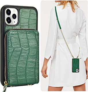 JLFCH iPhone 11 Pro Wallet Case, iPhone 11 Pro Crossbody Case with Zipper Credit Card Slot Holder Wrist Strap Lanyard Women Girl Crocodile Grain Protective for iPhone 11 Pro 5.8 inch - Midnight Green