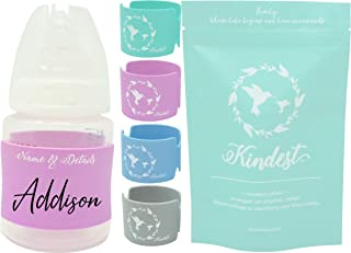Baby Bottle Labels for Daycare (4 PK) Write Your Baby's Name & Make it Permanent! Identify Your Baby's Bottle in Style! Soft Silicone Helps to Ease Your Baby's Grip by Kindest Company (Multi-Color)