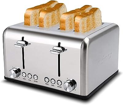 Tostadora de 4 rebanadas, CUSIMAX de acero inoxidable, tostadoras de pan, 4 ranuras extra anchas con función de bagel/descongelar/cancelar, 6 ajustes de sombra con bandeja extraíble para migas