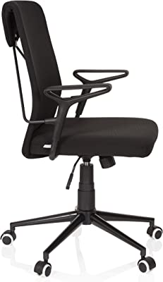 hjh OFFICE 621970 silla de escritorio VIGOR tela negro silla giratoria diseño retro con reposabrazos