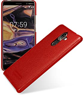 TETDED Premium Leather Case for Nokia 7 Plus Dual SIM, Snap Cover (Red)