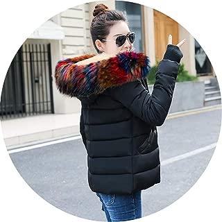 Women Winter Hooded Warm Coat Plus Size Warm Flowers Fur Cotton Padded Jacket Parka Womens