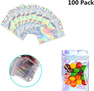 100 Pack Resealable Mylar Bags Smell Proof Pouch Aluminum Foil Packaging Plastic Ziplock Bag,Small Mylar Storage Bags For Candy,Jewelry,Screw,2.8x3.9inch(Holographic Rainbow Color)