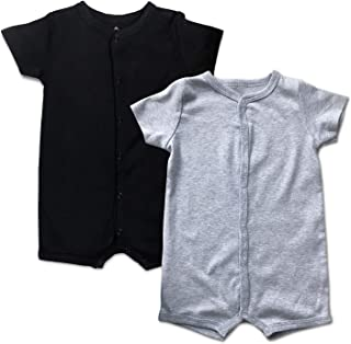 DEFAHN Baby Boys Girls Short Sleeve Rompers, 2 Pack Solid Color Cotton One-Piece Jumpsuit Coverall