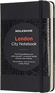Moleskine 9 x 14 cm City Notebooks London with Plain and Ruled Pages, Hard Cover, Elastic Closure and City Maps - Black