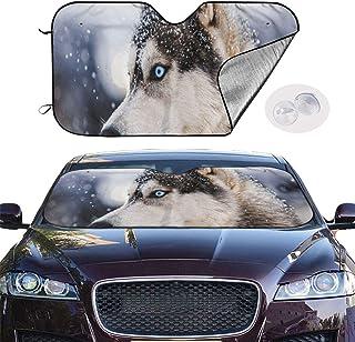 HHJJI Auto Windschutzscheibe Sonnenschirm, spezielle Husky Dog Front Windschutzscheibe Sonnenblende, Automobil Universal Windschutzscheibe Sonnenschutz Halten Sie Ihr Auto kühl