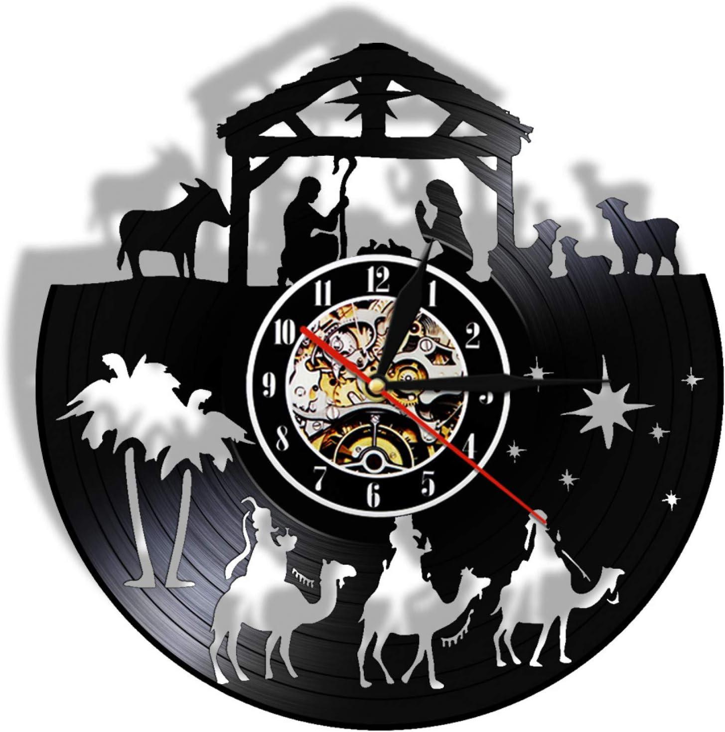 hhhjjj Jesús nació en el Pesebre Disco de Vinilo religioso Reloj de Pared Pesebre navideño Artista de Pared religioso decoración del hogar Reloj Cristiano