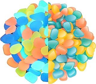 NAMTSO Glow Rocks,『400pcs』Mixed Color Glow in The Dark Pebbles Luminous Stones for Fish Tank Aquarium Indoor & Outdoor Yar...