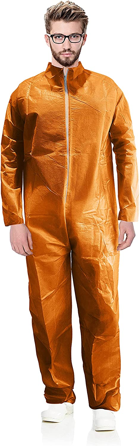 """AMAZING Disposable Coveralls 63"""" Long. Pack of 5 Orange Adult Industrial PPE Workwear Medium. Unisex Laminated Polypropylene 40 gsm Full Body Protective Suits with Open Wrists, Zipper for Painting. : Tools & Home Improvement"""