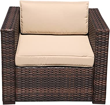Patiorama Outdoor Patio Furniture Armchair Single Chair, All Weather Wicker Patio Sectional Sofa, All-Weather Wicker Furniture with Beige Cushions, Additional Chair for Sectional Sets,Garden,Backyard