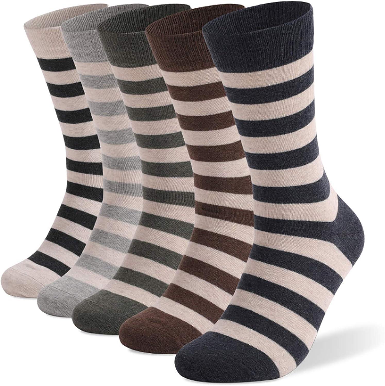 Mens Dress Socks 5 Pack Colorful Socks for Men Cotton Fashion Crew Socks (Striped Pattern -1, L) at  Men's Clothing store