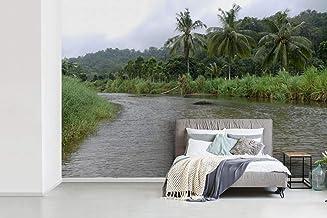Fotobehang vinyl Meru Betiri - Fotobehang Meru Betiri - Rivier tussen de bossen van het Nationaal park Meru Betiri op Java...
