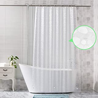 Veejoda PEVA-Clear-Shower-Curtain-Liner 72 x 78 inch,3D Pebble Pattern Long Shower Liner Thick Heavy Duty,Waterproof Plastic Shower Bathroom Curtains 12 Hooks