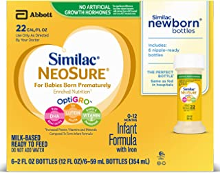 Similac NeoSure Infant Formula with Iron, For Babies Born Prematurely, Ready-to-Feed bottles, 2 ounces (48 bottles)