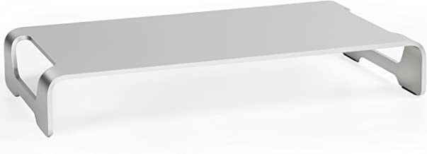 VIVO Silver Aluminum 16 inch Wide Monitor Riser   Ergonomic Desktop Stand, Modern Tabletop Organizer (STAND-V000H)