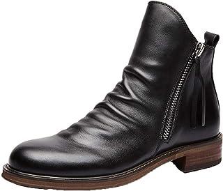 Stivali in Pelle da Uomo Scarpe Alte alla Moda Primavera Autunno Stile Britannico Stivaletti alla Caviglia con Cerniera di...