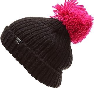 """MIRMARU Women's Winter Ribbed Knit Soft Warm Chunky Stretchy Beanie hat with 5"""" Large Pom Pom"""
