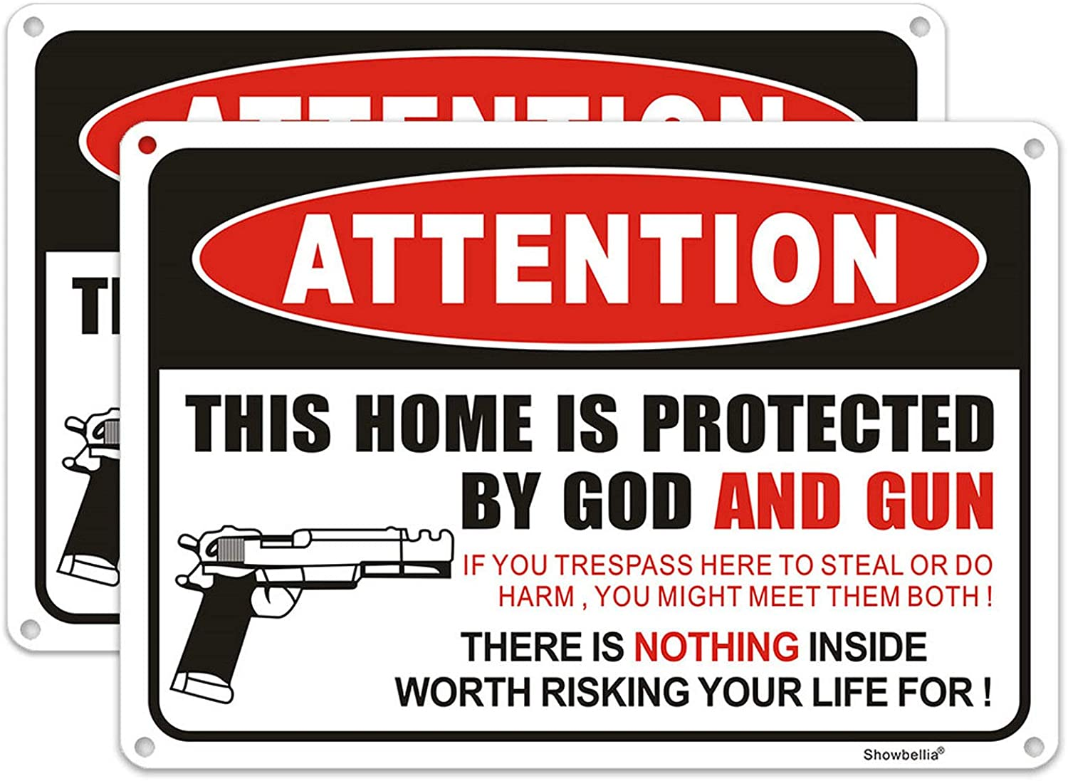 Showbellia 2 Pack Gun Signs This Home is Protected By GOD and Gun Rust Free Aluminum, Weather/Fade Resistant, Easy Mounting, Indoor/Outdoor Use Metal Gun Sign (10