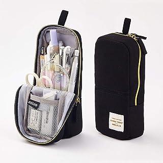Rolin Roly Estuche Escolar Pequeño Lápices Bolso Adolescente Bolsa para Lapices de Lona Cosmeticos Plumier Portalápiz Soporte para Teléfono Móvil Pencil Holder Box (Negro)