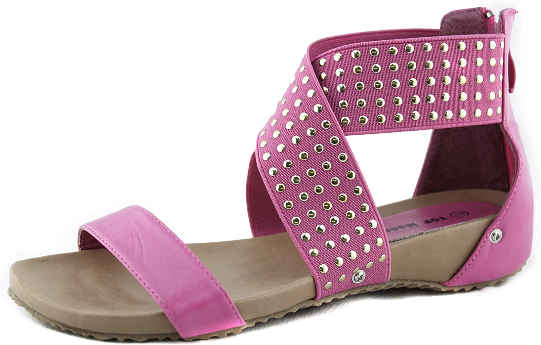 TOP Moda S6 Studded Strappy Gladiator Comfort Flat Sandals Fushia