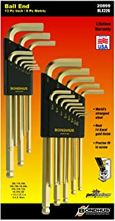 Bondhus 20899 Inch/Metric GoldGuard Plated Ball EndL-Wrench Double Pack 37937 (.050-3/8) & 38099 (1.5-10mm)