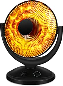 Antarctic Star Space Heater, Portable Heater Electric Ceramic Small Heater Indoor Use Oscillating Radiant Dish Heater Overheat Protection Quiet with Adjustable Tilt For home or office, 800W Black.