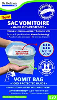 Dr Helewa Care Vomit Bag with Super Absorbent Pad and Holder, 600 ml, Pack of 20
