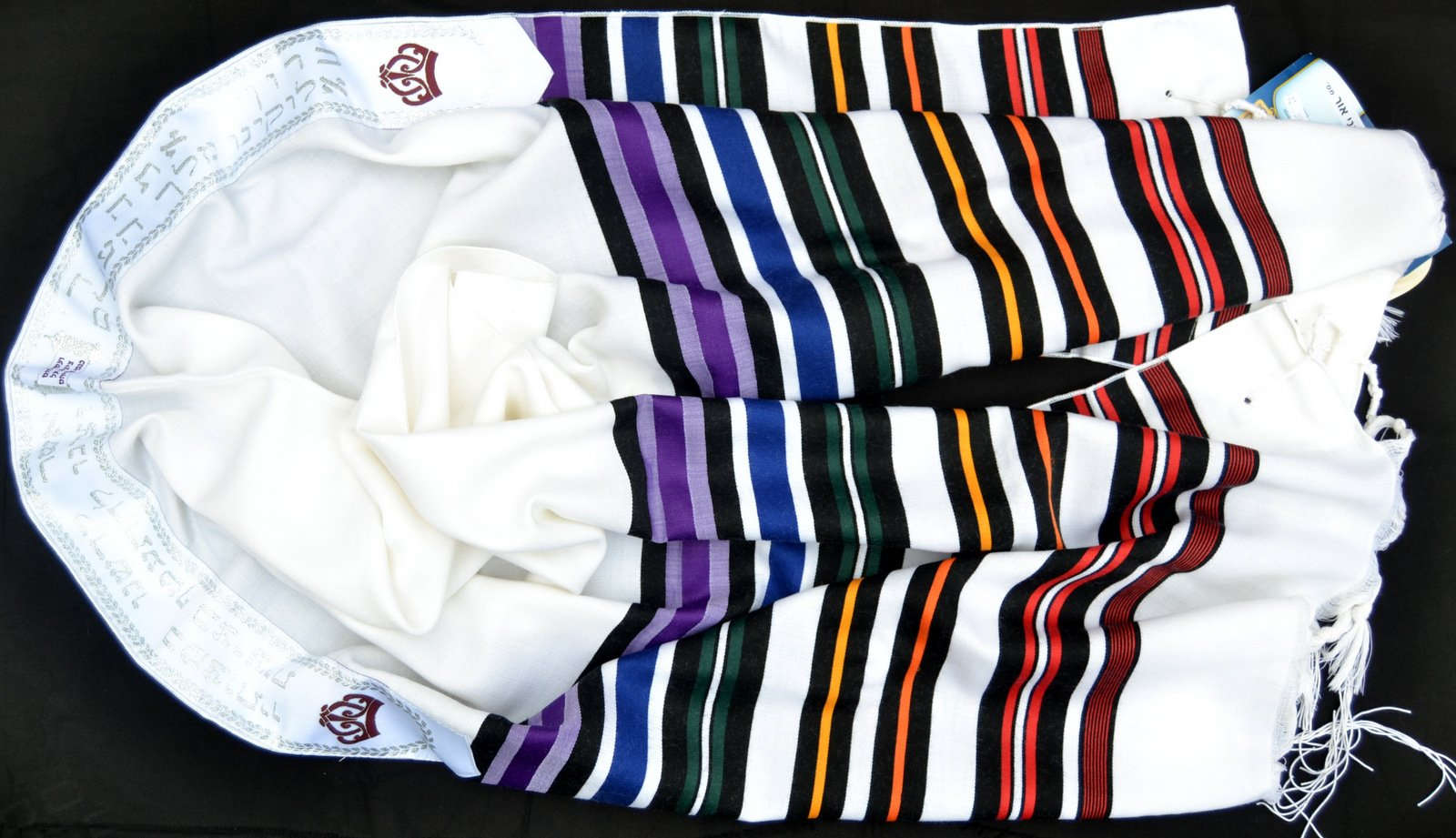 "Kosher Tallit Prayer Shawl 100%wool 19x70""/50x180cm ""Bney Or"" 7stripes Colorful"