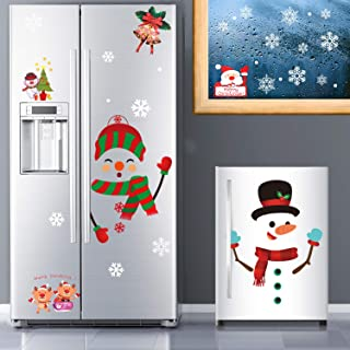 Whaline 64Pcs Christmas Stickers for Refrigerator,Window and Wall,Snowman Snowflakes Christmas Window Clings Decal Sticker...