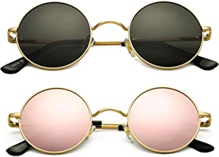 2 Pack Retro Round Polarized Sunglasses for Men Women...