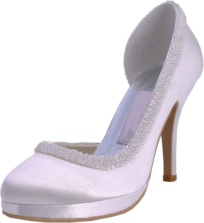 Minitoo Womens Round Toe Stiletto Heel Beading Bridal Wedding Satin shoes Pumps