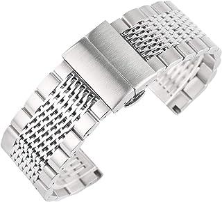 TSYGHP Color de Plata de 22 mm Relojes Correas de Acero Inoxidable Banda de Reloj Pulsera para Mujer Reloj Reloj Reloj Ree...
