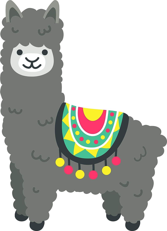 Amazon Com Cute Adorable Festive Tribal Spanish Party Llama Alpaca Cartoon Vinyl Sticker 12 Tall Gray Automotive