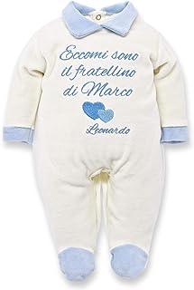 """Tutina neonato Invernale e estiva in ciniglia o jersey di cotone con frase:""""Eccomi sono il fratellino di .""""per bimbo da pe..."""