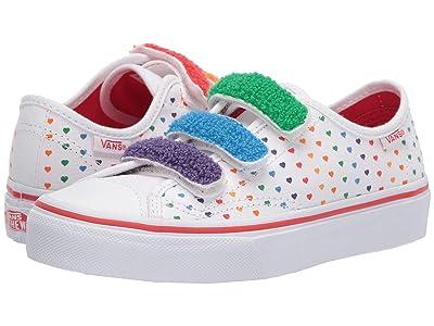 Vans Kids Style 23 V (Little Kid) ((Chenille) Rainbow Heart/True White) Girl