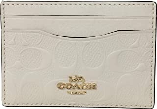 Signature Leather Flat Card Case Chalk F73601