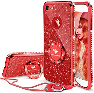 Cute iPhone 8 Case, Cute iPhone 7 Case, Glitter Bling Diamond Rhinestone Bumper with Ring Grip Kickstand Protective Thin Girly Red iPhone 8 Case/iPhone 7 Case for Women Girl - Red