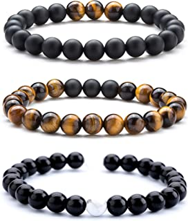 Men Women 8mm Tiger Eye Stone Beads Bracelet Elastic Natural Stone Yoga Bracelet Bangle-21003