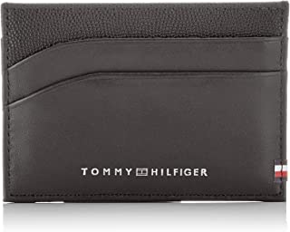 Tommy Hilfiger Men's Contrast Texture Leather Card Holder Contrast Texture Leather Card Holder, Black, One Size