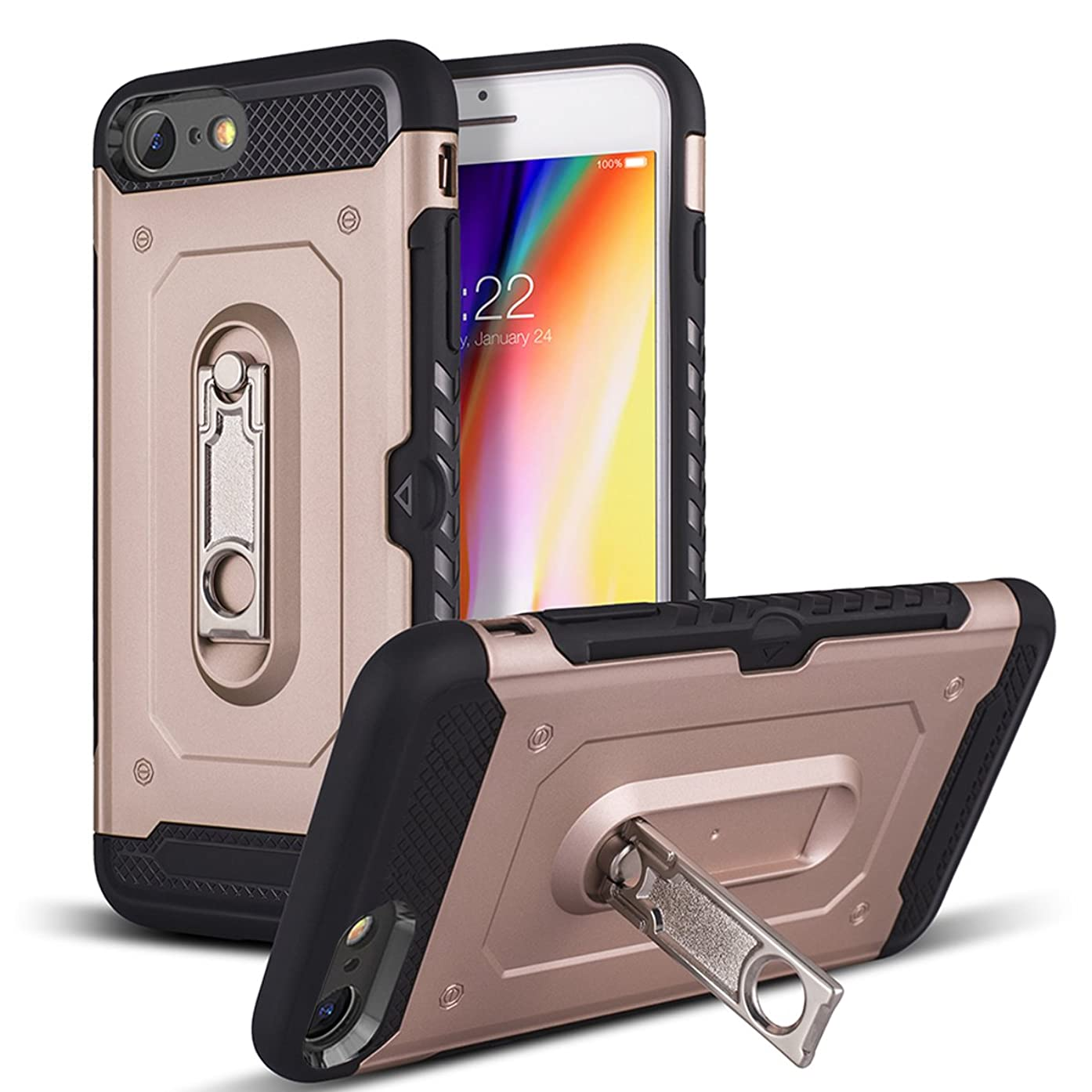 iPhone 8 Case, iPhone 7 Case with Stand & Wallet Design Card Slot Holder, Tobomoco Hard PC and Soft TPU Bumper Shock-Absorption Anti-Scratch Protective Case Cover for iPhone 7/8 [4.7 inch], Rose Gold