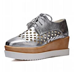 0d08ba1c39f Carol Shoes Women s Pierced Platform Wedge Oxfords Shoes Silver