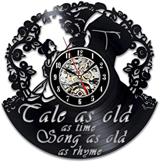 La Bella Casa Beauty and The Beast Vinyl Record Wall Clock, Beauty and The Beast Gift for Any Occasion