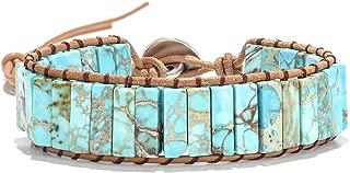7 Chakra Yoga Bracelet Handmade Woven Leather Imperial Jasper Bracelets Adjustable Bohemian Natural Stone Bead Friendship Bracelet for Women Girls