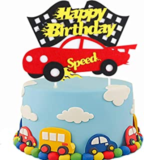 PANTIDE Birthday Cake Topper Decoration - Racing Car Theme Birthday Party Decoration Ideas Baby Shower Birthday Cake Supplies